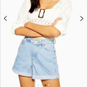 roll mom denim shorts